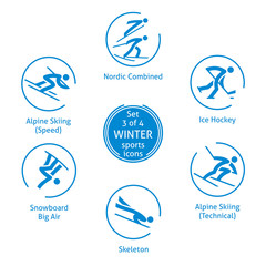 Winter sports icons set, 3 of 4, vector pictograms