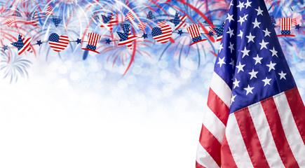 American flag and bokeh background with firework and copy space for 4 july independence day and other celebration
