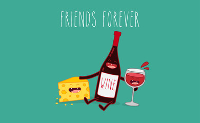 Vector cartoons of comic characters bottle of wine, glass of wine and cheese. Friends forever.