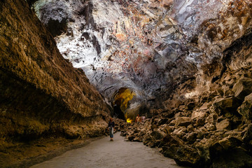 Cueva de los Verdes, picturesque volcanic cave inside