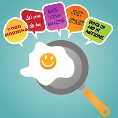 morning concept. smile frie egg on pan and quote speech bubble.vector illustration.