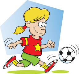 Cartoon illustration of a girl kicking a soccer ball with a background.