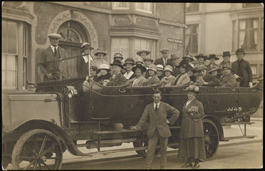 Coach Party at Rhyl. Date: 1920s