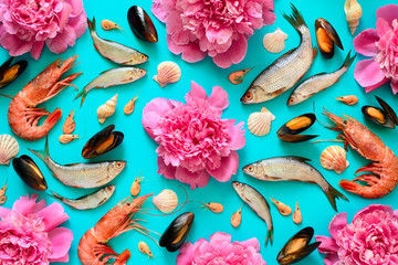 Sea food and flowers background
