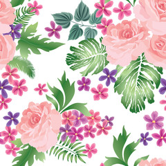 Floral seamless pattern. Flower rose bouquet background. Summer decor