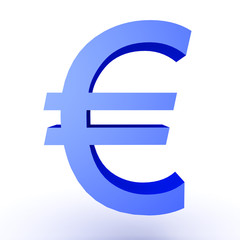 3D Illustration of blue euro currency symbol