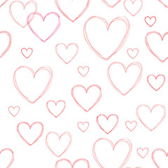 Love hearts seamless doodle line pattern. Valentine day holiday