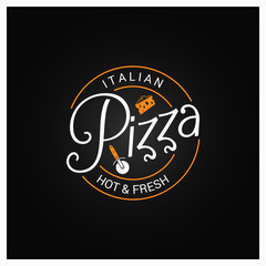 pizza logo badge design background