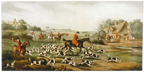 Papiers peints Chasse Going to Cover - Hunting. Date: circa 1860