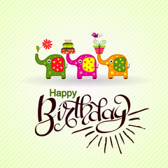 Template birthday greeting card with elephants and text, vector