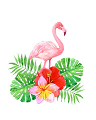 Flamingo with palm leaves, tropical flowers isolated on white background, watercolor illustration
