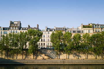 The Seine banks and typical parisian buildings on the island on the river Seine.