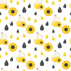 Sunflower oil seamless pattern