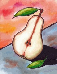 Pear. Illustration of pear fruit. Pear with a leaf.