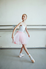 Cute little ballerina in pink ballet costume and pointe shoes is dancing in the room. Kid in dance class. Child girl is studying ballet. Copy space.