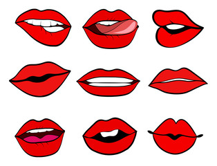 Woman lips set pop art retro vector style. Mouth with a kiss, smile, tongue. Vector illustration isolated on white background.
