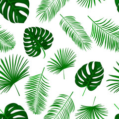 Seamless hand drawn  vector pattern with green palm leaves on white background.