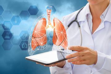 Human lungs on a virtual screen .