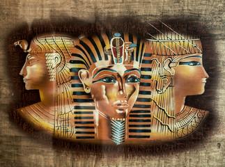 Egyptian papyrus, the face of Nefertiti and Tutankhamun, the texture of papyrus