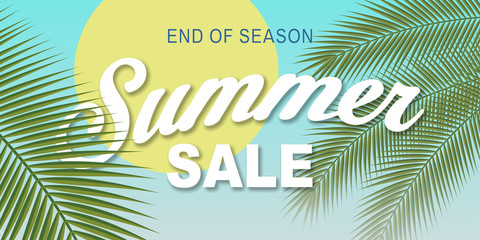 Summer sale lettering sky palms illustration