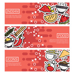 Set of Horizontal Banners about indian food