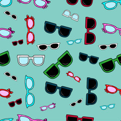 Cute kids pattern for girls and boys. Colorful glasses on the abstract grunge background create a fun cartoon drawing. The background is made in neon colors. Urban backdrop for textile and fabric.