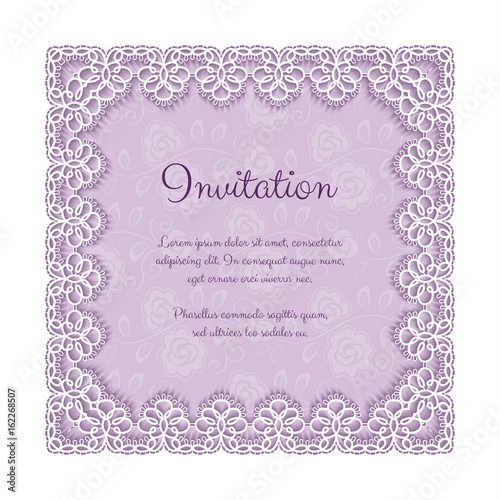 elegant invitation or greeting card template with lace square frame