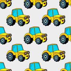 Cute kids pattern for girls and boys. Colorful car, auto on the abstract bright background create a fun cartoon drawing.The background is made in blue colors.Urban backdrop for textile and fabric