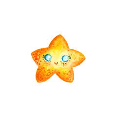 Watercolor cartoon starfish