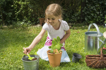 Little girl gardening, potting plants with care