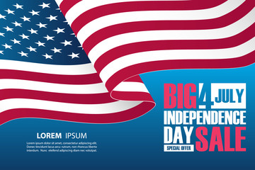 4th of July Independence Day Sale banner with waving american national flag. Special offer background for business, promotion and advertising. Vector illustration.