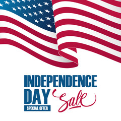 Independence Day Sale banner with waving american national flag. Special offer background for business, promotion and advertising. Vector illustration.