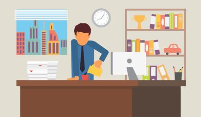 Businessman on coffee break. Business office workplace vector illustration.