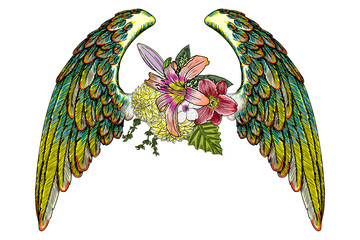 Rose and flowers with angel or bird wings. Vintage floral. Highly detailed blackwork tattoo flash concept isolated on white. Wings and blooming lily, roses drawing in feminine style. Vector.