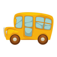 Cartoon compact yellow school bus with big windows