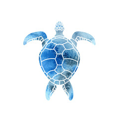 Cheloniidae. Turtle. Wildlife. Silhouette. Symbol, icon, logo. Vector illustration.