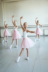 Cute little ballerinas in pink ballet costume and pointe shoes is dancing in the room. Kid in dance class. Child girl is studying ballet. Copy space.