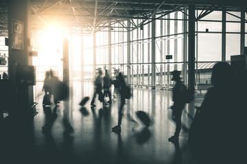 Travelers moving around the Airport