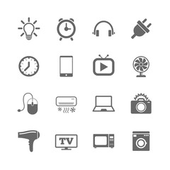 Set of Electronics, Home appliances and Devices icons. Hairdryer, Photo camera and Notebook signs. Air conditioning, Washing machine and Microwave oven symbols. Vector
