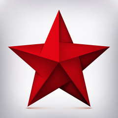 Volume five-pointed twisted red star, 3d object, geometry shape, mesh version, abstract vector