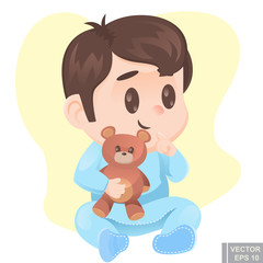 Vector - illustration of cute cartoon baby boy in pajamas with teddy bear happy infant child