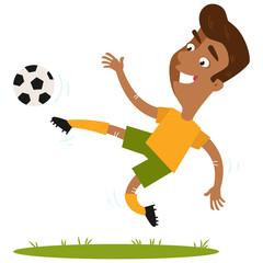 Smiling south american cartoon footballer wearing yellow shirt and green shorts kicking the ball in mid-air isolated on white background.