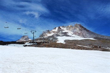 Mt. Hood in Oregon in August, after the upper lift to the still open snow field has been closed for the day. The longest ski season in the United States.