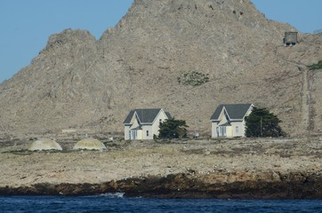 Houses on the Southeast Farallon Island, where scientific researchers live while on the island.