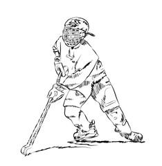 Sketch of Ice Hockey in vector.