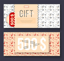 Vector gift voucher with cosmetic icons ornament background for boutique, beauty salon, spa, fashion, flyer. On discount 500$.