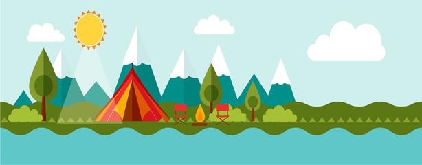 Banner concept of outdoor isolated  advenrute camping
