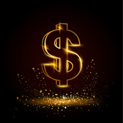 Gold dollar symbol. Currency linear vector illustration on a black background.