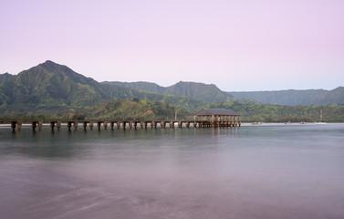 Dawn and sunrise at  Hanalei Bay and Pier on Kauai Hawaii