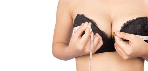 Women's breast measure, isolated for white background.